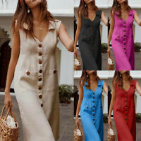 Women's Summer Casual Sleeveless V Neck Loose Long Dress Pockets Maxi Dress UK