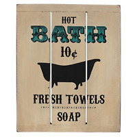 New Primitive Vintage Antique Style HOT BATH FRESH TOWEL Bathroom Wood Sign