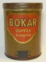 Old Vintage 1920s BOKAR COFFEE TIN COFFEE CUP GRAPHIC TALL 1 POUND CAN NEW YORK