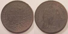 5 Francs Hercule argent 1848 A Paris, Belle patine grise !!