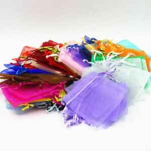 50-500PCS Wedding Party Favor Gift Organza Candy Bags Jewelry Pouch Sheer Decor