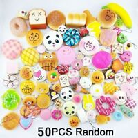 50x Jumbo Medium Mini Squishy Soft Lot Toast/Panda/Bread/Cake Phone Straps