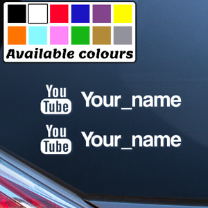2 x YOUTUBE PERSONALISED NAME CAR WINDOW BUMPER STICKER VINYL DECAL