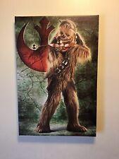 "Chewbacca Star Wars FRAMED Canvas Wall Art 12"" X 17.5"" Rebellion Chewie"
