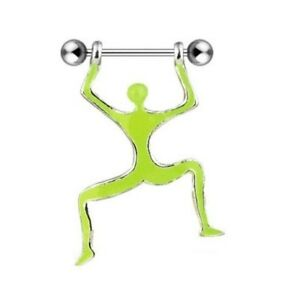 GREEN MAN NIPPLE SHIELD RINGS BODY PIERCING BAR JEWELRY 14G 3/4