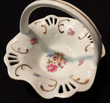 3 3/4 in T, 4 1/2 in W pierced china basket handle flowers gold trim Germany