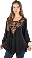 Nwt SACRED THREADS black floral embroidery umbrella rayon TOP O/S fits S M L