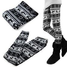 Pantacollant leggins natalizio natale renne bianco nero donna taglia unica