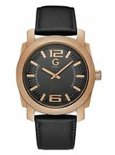 """GUESS MEN'S WATCH """"ESCAPE"""" ROSE GOLD BLACK LEATHER G8409961 NWT $185"""