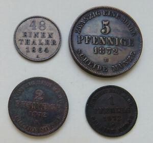 Mecklenburg-Schwerin, 1/48 Taler 1864 A, 5 Pfennig, 2 Pfennig, Pfennig 1872 B
