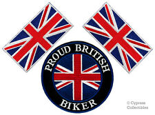 LOT of 3 PROUD BRITISH BIKER PATCH UNION JACK FLAG new embroidered UK IRON-ON