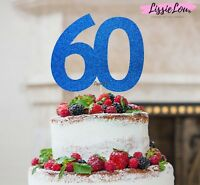 LissieLou 60th Birthday Cake Topper Glitter Card Made in the UK