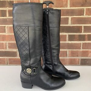 Liz Claiborne Trino Black Knee High Riding Boots Women's US 6.5 M Faux Leather