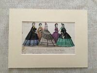 Antico Moda Stampa Vittoriano Abito Costume Mano Colorato Raro 1863