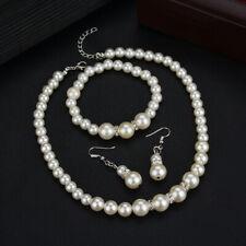 Women Crystal Pearl Necklaces Bangles Earrings Wedding Charm Jewelry Set G Crj0