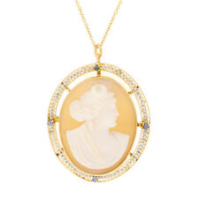 Cameo Brooch Pendant Yellow Gold Must See Sapphire
