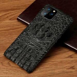 Genuine Leather 3D Crocodile Head Phone Case for iPhone 12 11 Pro Max 6 7 8 Plus