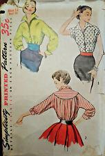Vtg 50s Stunning Details: Classic Blouse Shirt  Simplicity 4237 Size 12 Bust 30