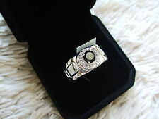 GENTS BLACK SPINEL RING WITH WHITE TOPAZ IN STERLING SILVER 1.72CTS SIZE 11 V/W