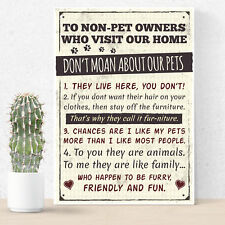 Rules to Non Pet Owners Retro Sign Wall Plaque Dog Cat Lover Family Plaque Gifts