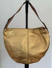 MICHAEL KORS Gold Leather Caramel Leather Handle Hobo Bag