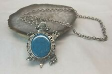 """Large Artsy Turtle Pendant wide silver tone chain faux turquoise 20"""" necklace"""