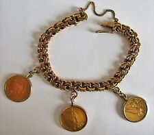18K GOLD BRACELET CHAIN  W/ 3 GOLD COINS year 1892-1909-1932 SOLID GOLD 67.9 g