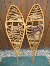 """VINTAGE SNOWSHOES 48"""" Long x 13"""" Wide with Leather  Bindings"""