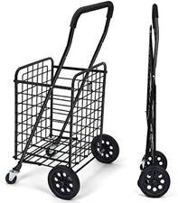 Folding Portable Shopping Cart Dual Swivel Wheels Grocery Laundry Travel Trolley