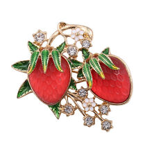 New Fashion Red Fruit Strawberry Gold Pin Brooch Nice Quality