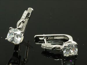 925 Silber kleine Scharnier Creolen mit Zirkonia Steinen 18,5 x 6,2 mm
