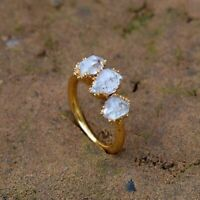 Natural Herkimer Diamond Stackable Woman Fashionable Gold Plated Ring Jewellery