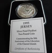 1995 SILVER PROOF PIEDFORT JERSEY £2 COIN BOX + COA 50th ANNI OF LIBERATION