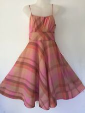 Monsoon Cotton Frock Dress Knee Length Summer Holiday Strappy Pink Check Size 8