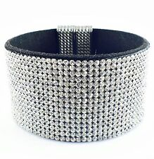 USA Leather Bracelet Rhinestone Crystal Magnetic fashion Charming Bangle Clear