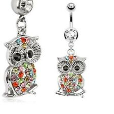 MULTI GEM STONE RAINBOW OWL BELLY NAVEL RING DANGLE BUTTON PIERCING JEWELRY B711