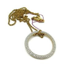 "Swarovski Crystals Clear Rhinestone Gold Tone Necklace 36"" Long"