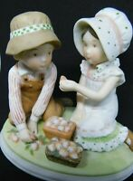 "1980 Holly Hobbie Ceramic Figurine Children in Hats with STRAWBERRY 3.25""!"