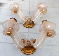 Pair of Original French Retro Brass & Perspex Double Wall Lights !