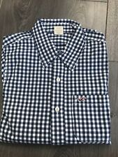 Mens Hollister Navy & White Check Gingham Long Sleeve Shirt Medium Ex Con