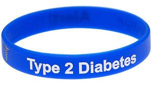 Type 2 Diabetes Alert Blue Silicone Wristband Medical Alert ID Bracelet Mediband