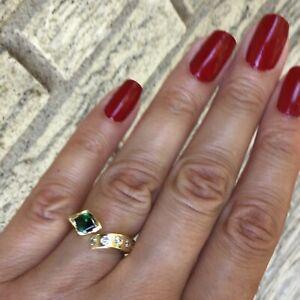 Modern Green Tourmaline and Diamond Ring 14k Yellow Gold