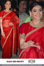 Engraving Red Satin Chiffon Embroidery Work Bollywood Replica Saree BT-139
