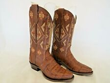 Roper Brand Trudy Triad Caiman Exotic Boots Handcrafted Tan Brown Womens Sz 7 M