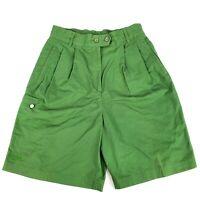 Ellesse Women's Shorts Size 44 Green 100% Cotton Elastic Waist Casual Wide Leg