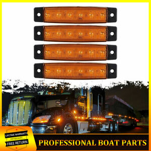 """4x Univrsal Amber Lens LED Grill Grille Lights 3.8""""Surface Mount"""