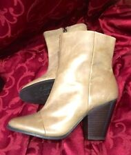GREY BEIGE LEATHER GUESS ANKLE COWBOY BOOTS HEEL 9 cm SIZE 7 RRP $275 WORN ONCE