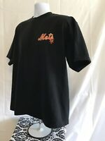 MLB New York Mets Majestic Embroidered Black Mens T Shirt Large NY Baseball