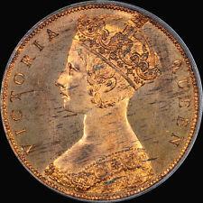 "HONG KONG CENT 1863 PCGS PR67 RB  PRIDMORE 165b 1C W/DOT ""FINEST"" TONED CAMEO"