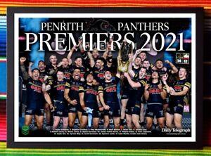 ✺Framed✺ 2021 PENRITH PANTHERS NRL Premiers Poster - 45cm x 32cm x 3cm
